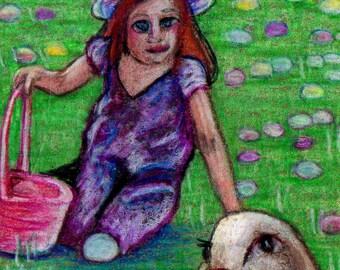 original art drawing aceo Easter easter bunny Easter egg hunt spring