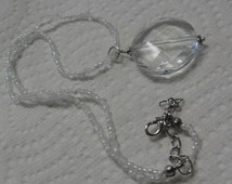 Clear Round Pendant White Seed Beaded Necklace