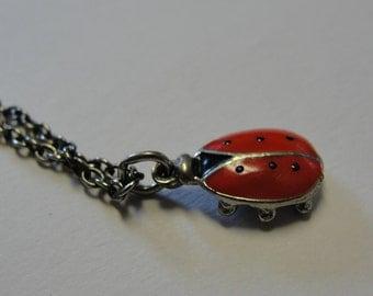Dainty LadyBug Pendant Silvertone Necklace