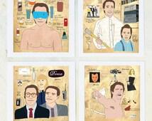 Illustration, American Psycho art, Film Geek, Strange art, Unique gift, Men- set of 4 Prints on Fine Art Paper