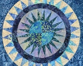 """Quilt Top New York Beauty in Blue Batiks 18"""" Ready to Ship and Ready to Quilt"""