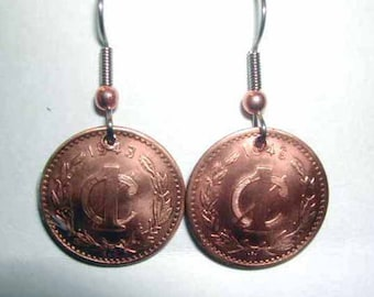 Coin earrings-Antique Mexican coin earrings-free shipping