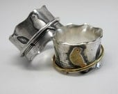 Birds on a Wire Silver Spinner Ring with Choice of Sterling, Brass or Cooper Raised Bird