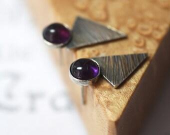 Amethyst Geometric Textured Sterling Silver Triangle Stud Earrings