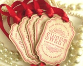 Candy Buffet Tags - Vintage Style with Red Satin Ribbon - Christmas Decoration, Wedding Favor Tags, SET of 5 CODE S20