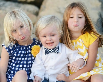 Bow tie Neck tie Choose any fabric in the shop! Navy blue polka dots baby toddler boy photo shoot prop birthday holiday coordinating sibling