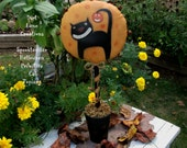 Halloween Primitive Black Cat ...Jack  O Lantern..Folk Art Painting ...Fall Decor..  FAAP