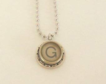 Typewriter Key Necklace, Letter G , Vintage, Initial Jewelry,  All Letters Available, Typography Jewelry,