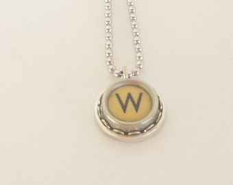 Typewriter Key Necklace  - Vintage - Initial Jewelry -  ALL Letters Available - Typography Jewelry