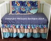 HOT SALE* Custom Designer Periwinkle Aqua Tangerine & Indigo Posh 3 Tier Ruffled Crib Skirt Lux Bumperless Crib Bedding Set READY To Ship