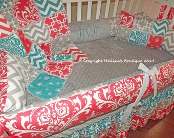 Custom Boutique Coral Turquoise & Grey Chevron and Damask Baby Nursery Complete Crib Bedding Set made with Designer fabric