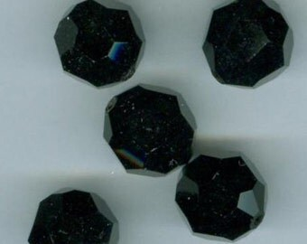 12 Opaque Jet Black Faceted Glass Beads Vintage Czechoslovakia 12 mm
