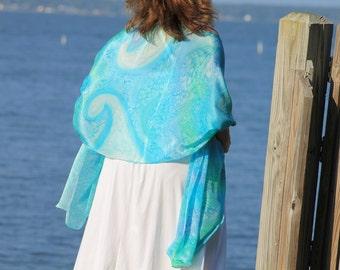 Petite Mermaid ... hand painted silk wrap, shawl