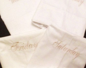 Days of the Week Embroidered Standard Pillow cases
