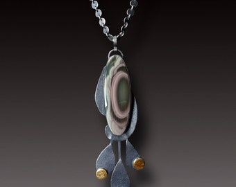Imperial Jasper Necklace Sterling Silver with Gold Keum Boo