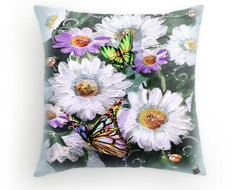 Big Daisies and Butterflies, Designer Pillow cover, created from original Art, FREE print included