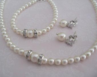 Bridal Jewerly - Wedding Jewelry Flower Girl Pearl Rhinestone necklace bracelet and earrings set - Bridal Accessories-Wedding Jewelry