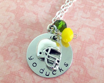 Hand Stamped University of Oregon Go Ducks Necklace