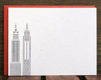 New York Skyline flat letterpress note cards SET OF 6