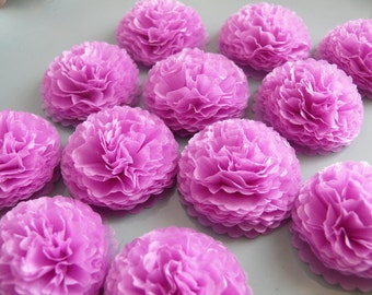 Button Mums Tissue Paper Flowers 1 inch Lilac Mums Wedding, Bridal Shower, Baby Shower Decor