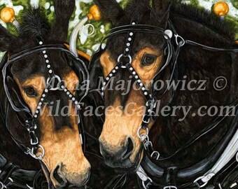 Mule Art, Draft Mule Team, Working Girls Mule Print, mule gifts, horse decor, western art, western decor, western gifts, mule painting
