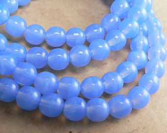 Cornflower Blue Czech Glass Beads Round Druk 6mm (30)