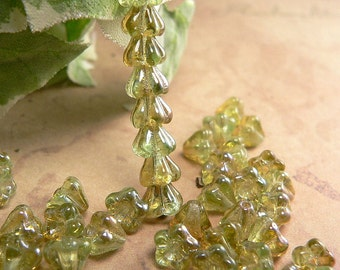 Chrysolite Green Czech Glass Baby Bell Flower Beads Celsian 4x6mm (25)