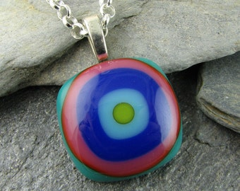 Glass Pendant Design in Teal, Pink, Cobalt, Turquoise and Lime. Bullseye Design. Colorful Pendant. Fused Glass Pendant. Modern Jewelry.