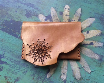Gold Yellow Flower Leather Tooled Wallet Pouch with Vintage Fabric