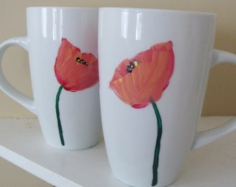 Poppy Cup Set of Two  Hand Painted