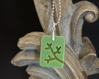 Branch Olive Carved Glass Pendant - FREE SHIPPING!