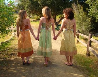 ON SALE Country Dress Hippie Eyelet Lace Blue Brown Green Polka Dot Vintage Hippy Summer Patchwork Retro Designer elyse oRiGiNaLs SIGNATURES