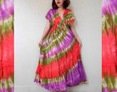 New Tropical Boho Hippie Gypsy Tie Dye Cotton Long Kimono Women Summer Dress S-L (T14)