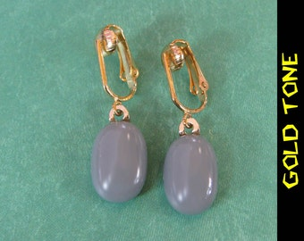 Clip On Earrings, Gray Dangly Clipons, Pierced Look Clip On Earrings, Everyday Jewelry, Gold Tone Clipons Findings - Tarsus - 273 -4