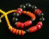 Coral Black Onyx Obsidian Necklace, Dramatic Boho Bohemian Tribal Ethnic Jewelry, Shaded Red Orange Yellow Colorful Vibrant Fire Statement