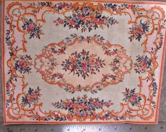 Dollhouse Miniature Aubusson Sueded RUG CARPET Victorian Rose LARGE