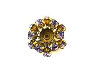 SWAROVSKI BEADS antique vintage  metal flower with purpleshade crystals- RARE
