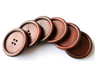 6 Wood  buttons NEW BUTTONS retro vintage style 40mm