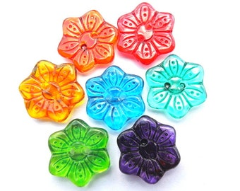 7 buttons,  flowers buttons, antique vintage,  hand painted, 16.5mm-new  package