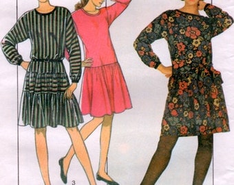 1984 Dropped Waist Dress with Gathered Skirt 3 sizes Sewing Pattern Style 3964