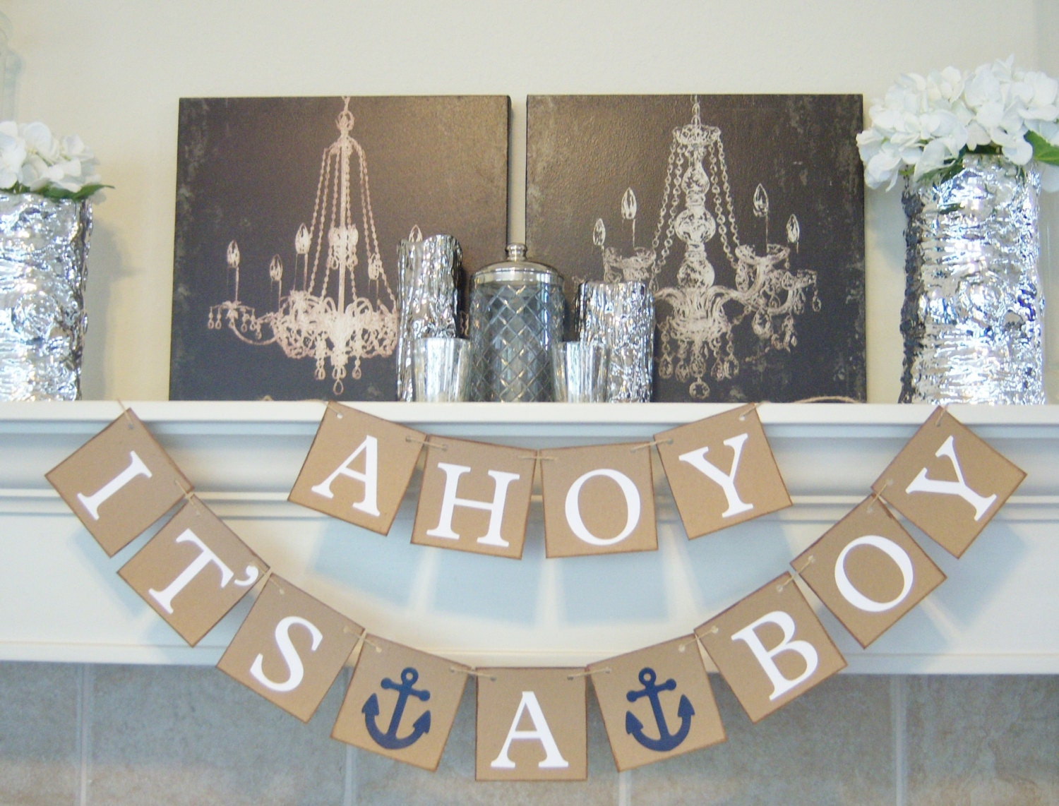 ahoy it 39 s a boy baby shower banner nautical theme baby