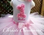 Baby Girl 1st Birthday Outfit - Pink Tutu Set - 3D Party Dress