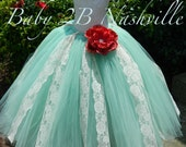 Mint and Ivory Lace Flower Girl Dress, Wedding Flower Girl  Dress, Ivory Lace Tutu Dress,Wedding Flower Girl Tutu Dress Baby to Girls 9-10