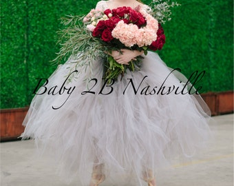 Wedding Tutu Women's Full Length Ballroom Style Silver Gray Bridal Tulle Skirt with rose trim waist