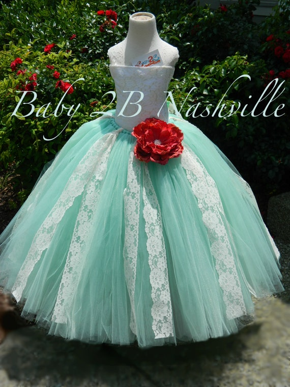 Mint Dress Ivory Dress Lace Dress Flower Girl Dress Wedding Dress Tutu Dress Tulle Dress Ivory Lace Dress Party Dress Toddler Girls Dress