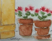 Geraniums in the Window Original Watercolor Painting ACEO 1