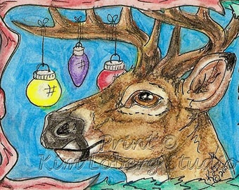 Whitetail Deer buck Christmas Ornaments Holiday ACEO Wildlife mini Art Print Kim Loberg Nebraska Artist EBSQ wild animal