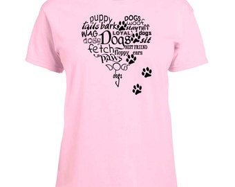 Ladies T-shirt Heart Full of Dogs and Paw Prints Art Sizes XS-2X