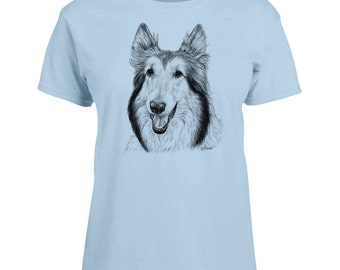 Ladies T-shirt Collie Dog Art Sizes XS-2X