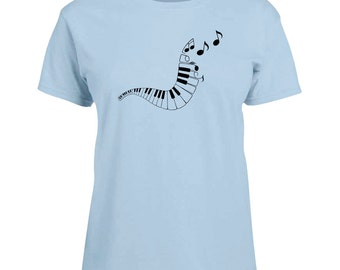 Ladies T-shirt Keyboard Music Notes Art Sizes XS-2X